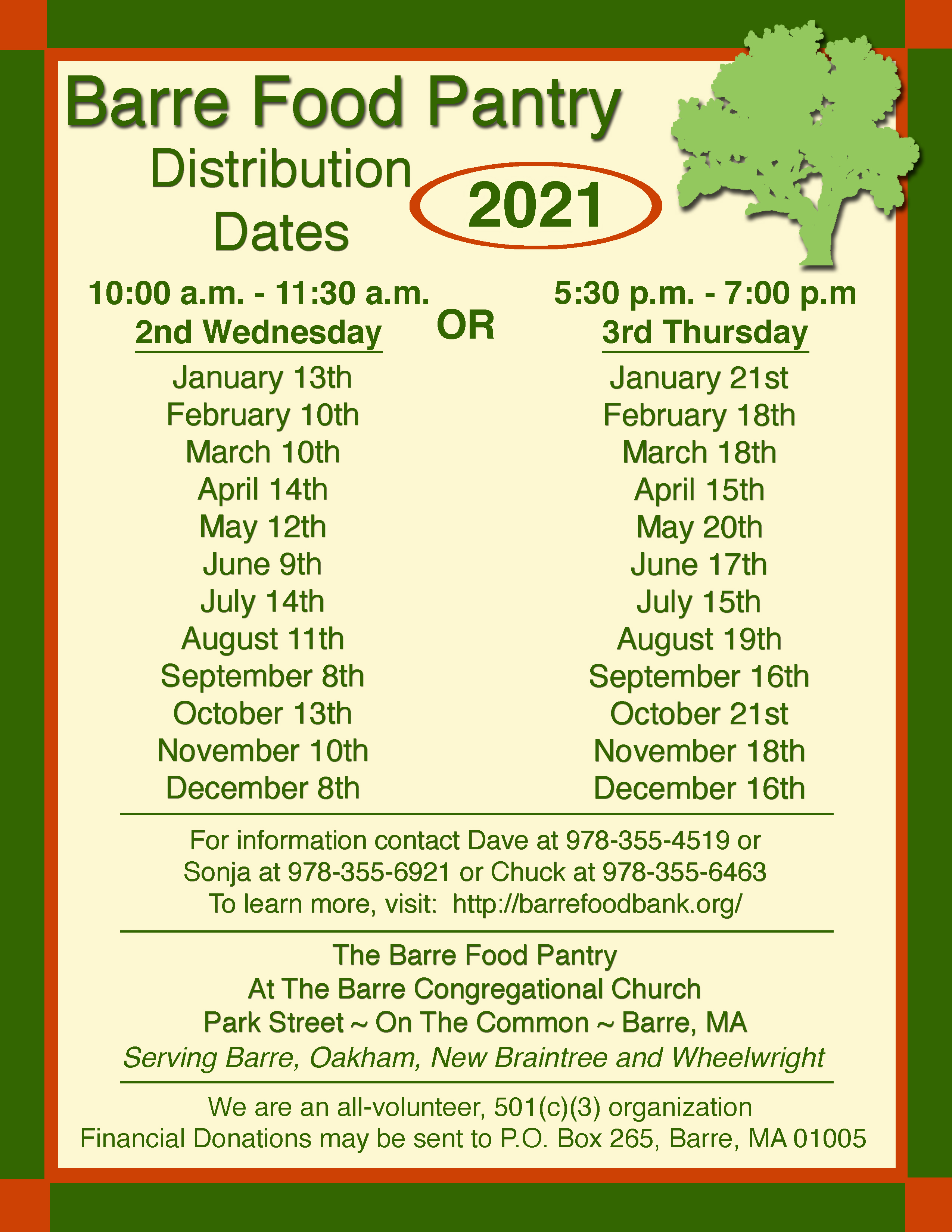 distribution dates 2018